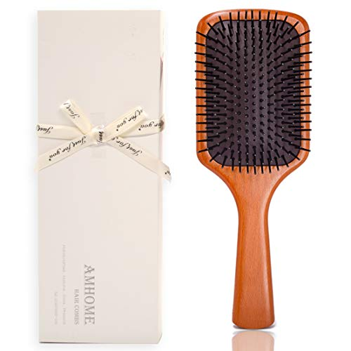 Premium Hair Brush Wooden Paddle Detangler Hair Combs Large Enough Smooth Sturdy RectangleA Large