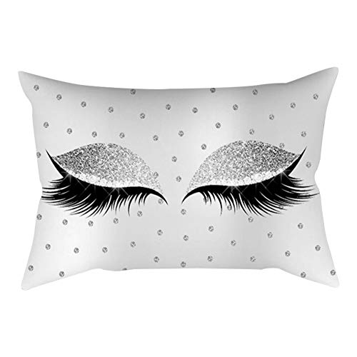 Home Decoration Eyelash Pattern Polyester Cushion Cover Office Car Cafe Pillow Case Sofa Bed Decor (I)