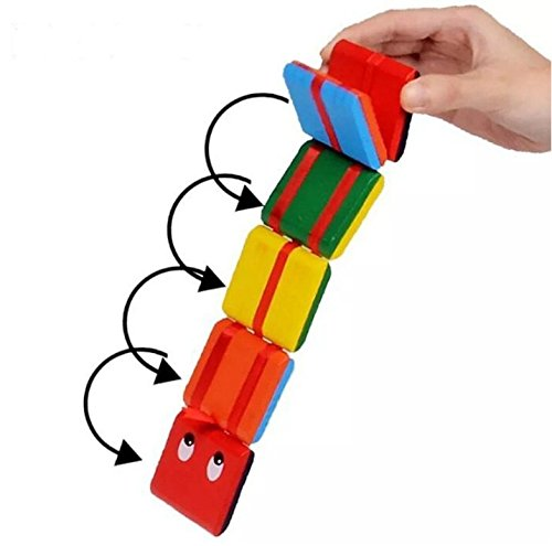 URbeauty Colorful Wooden Jacob's Ladder Classic Toy Wood Fidget for Kids Puzzle Flexi Old Fashion Colorful Wooden Toy Magic Puzzle Snake Flip Block Puzzle