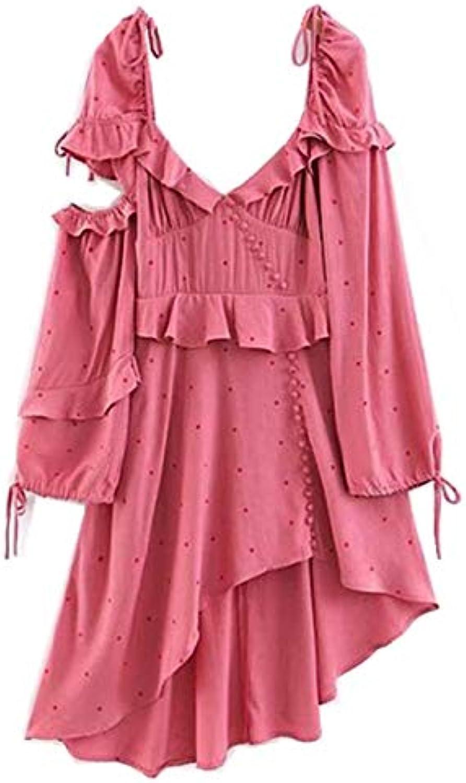 NANADEDIAN Spring New Retro Off Shoulder Polka Dot Long sleeve Dress Pink Women Vintage V neck Ruffles Asymmetrical Dresses