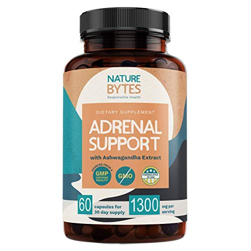 Adrenal Support & Cortisol Manager with Ashwagandha Extract - Advanced Adrenal Fatigue Supplement for Anxiety Relief, Stress, Focus & Metabolism Booster 60 Non GMO Energy Pills