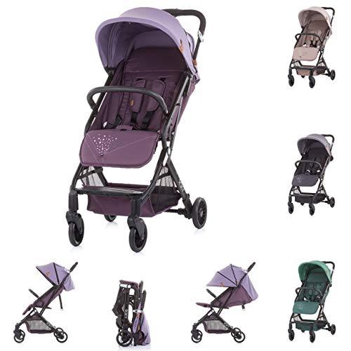 Chipolino, cochecito Roxy, cesta con ruedas plegables, respaldo ajustable por muelle, color morado