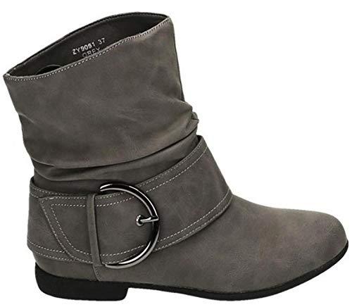 King Of Shoes Damen Stiefeletten Cowboy Western Stiefel Boots Flache Schlupfstiefel Schuhe 91 (36,...