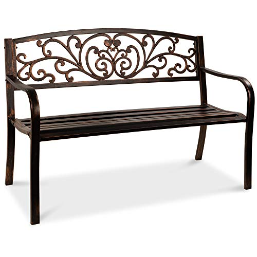 Best Choice Products 50in Steel Garden Bench for Outdoor, Porch, Patio Furniture Chair w/Floral Design Backrest - Brown