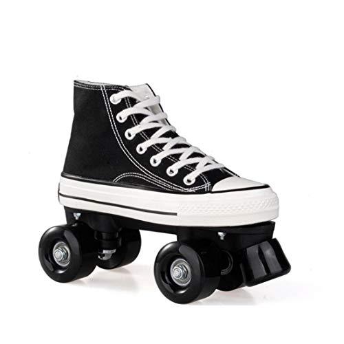 ZXSZX Canvas Schlittschuhe Rollschuhe Für Damen Mädchen Roller Quad Skates Komfortables Und Atmungsaktives Mit Zweireihigem Rad Obermaterial Leinwand Rollschuhe, Schwarz-41