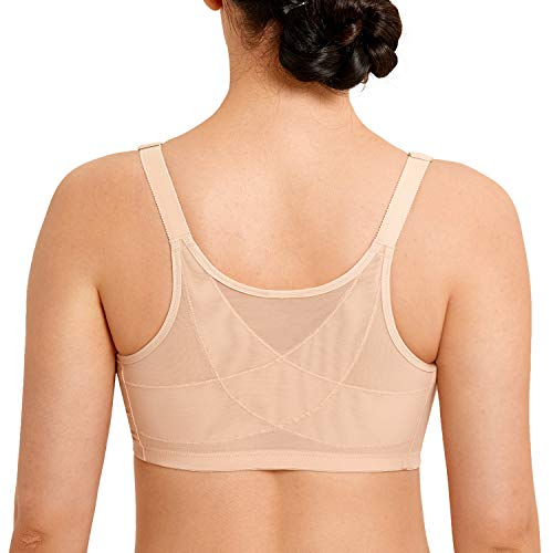 LAUDINE Women's Front Closure Lace Wireless Back Support Posture Bra Beige 54C