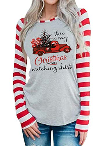 This is My Christmas Movie Watching Shirt Women Funny Red Truck Long Sleeve Christmas Tree Cute Tops Blouse (X-Large, Gray)