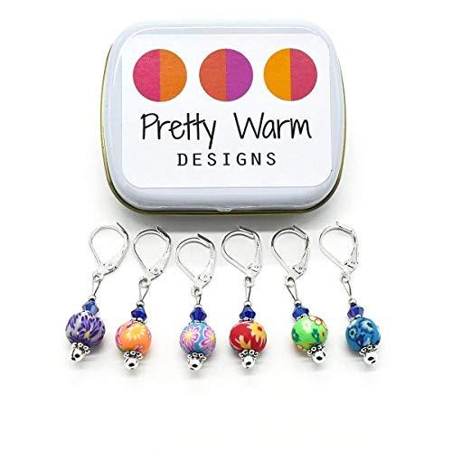 Multi Color Flower Bead Crochet Stitch Markers