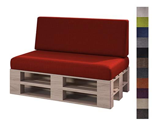 sunnypillow Set 2 Coussins pour Canapé Palette Intérieur/Extérieur Assise 120 x 80 x 15 cm + Dossier 120 x 40 x 20/10 cm plusieures Tailles et Couleurs à Choisir Siège Appui Lisse Lounge Rouge