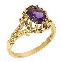 英国製(イギリス製) K18 イエローゴールド 天然 アメジスト レディースソリティア リング 指輪 各種 サイズ あり