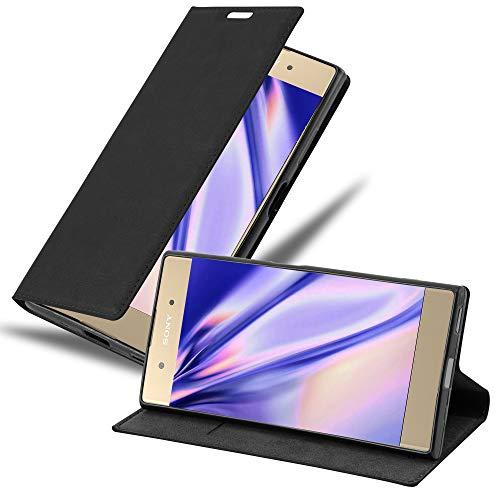 Cadorabo Hülle für Sony Xperia XA1 Plus in Nacht SCHWARZ - Handyhülle mit Magnetverschluss, Standfunktion & Kartenfach - Hülle Cover Schutzhülle Etui Tasche Book Klapp Style