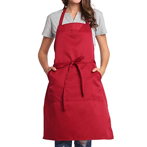 BIGHAS Adjustable Bib Apron with Pocket Extra Long Ties for Women Men, 18 Colors, Chef, Kitchen, Home, Restaurant, Cafe, Cooking, Baking (Wine Red)