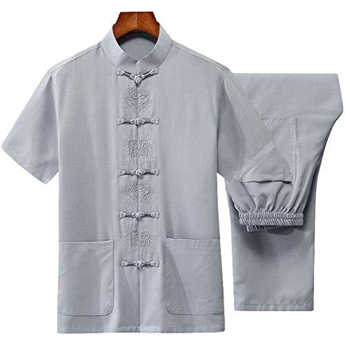 G-LIKE Herren Kungfu Tang Anzug - Traditionelle Chinesische Kampfkunst Tai Chi Wushu Qigong Kurzärmelige Gestickte Kleidung Trainingsanzug Freizeitkleidung Stehkragen Hemd Hose Uniform (Hellgrau, L)