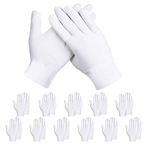 Rovtop White Cotton Gloves,12 Pairs Cotton Gloves for Dry Hands Eczema Hand Moisturizing, Sleeping Hand Mask Lotion Gloves