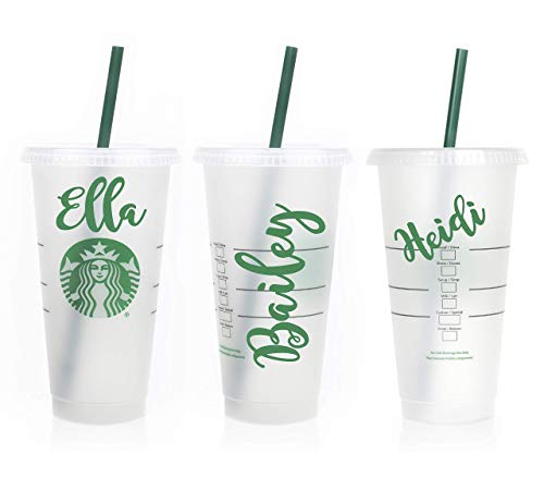 Personalized Reusable 24 oz Coffee Cup Frosted Venti To Go Cup Tumbler Custom Name Great Gift Lid and Straw Included