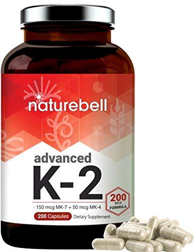 Advanced Vitamin K2 Nahrungsergänzungsmittel mit MK-7 & MK-4, 200 mcg, 200 Kapseln, Vitamin K2 Komplex Supplement, unterstützt Gelenk- und Herzgesundheit, ohne Gentechnik.