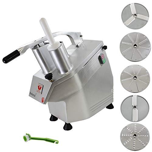 Beeketal \'GS750\' Profi Gastro Gemüseschneider elektrisch (ca. 240kg/h Durchsatz), Gemüseschneidemaschine mit 550W Leistung, Getriebe und Motor service- und wartungsfrei, inkl. 5 Messerscheiben