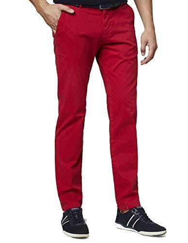 Bugatti Herren Chino Hose Flatfront Rot Weiche Baumwollware Modern Fit (Art.-Nr.: 4819GD-26226-950) (W33/L30)