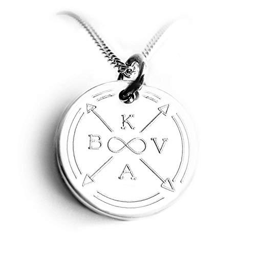 Initialen Kette mit Gravur, 925 Silber, Pfeil, Herz/Unendlichzeichen, Personalisierter Anhänger