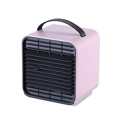 Tragbare Anion Klimaanlage Mini Kühler Luftbefeuchter USB Wiederaufladbare 3 Geschwindigkeitswind mit abgeschirmtem Nachtlicht dauerhafter Gebrauch für Haus / Büro / Outdoor ( Farbe : Pink )
