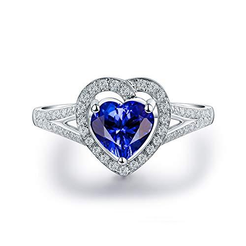 ButiRest Mujer Kein-Metall-Stempel (Mode nur) oro blanco 18 quilates (750) corazón azul Tanzanite