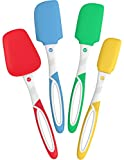 Vremi 4 Piece Spatula Set - Colorful Silicone Rubber Baking Spatulas Nonstick BPA Free Dishwasher Safe - Turner Spatula for Icing Brownie or Cake Frosting Decorating - Heat Resistant up to 450°F