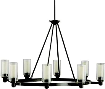 Kichler 2345oz Circolo Glass 1 Tier Chandelier Lighting 8 Light 480 Watts Halogen Olde Bronze Ceiling Pendant Fixtures Amazon Com