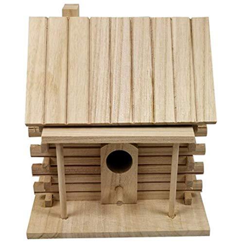 SODIAL Bird House Wall-Mounted Wooden Nest Dox Nest House Bird House Bird Box Wooden Box Cage Decoration Garden Ornament