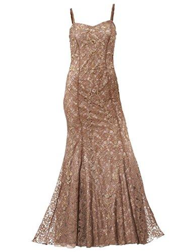 Kleid Abendkleid Spitzenkleid lang Partykleid Ashley Brooke taupe Gr.21(42)