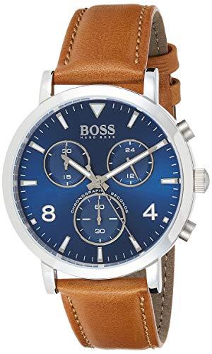 Hugo Boss Herren Chronograph Quarz Uhr mit Leder Armband 1513689
