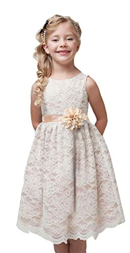 Bow Dream Vintage Lace Flower Girl Dress Princess Party Easter Champagne 4T