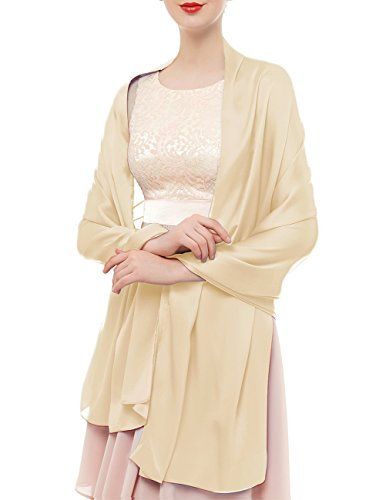 bridesmay Seide Halstuch 180 * 90cm Stola Schal Seidenschal Festlich Hochzeit für Kleider in verschiedenen Farben Apricot