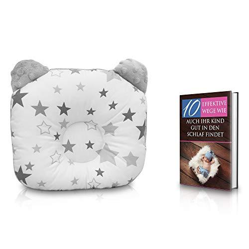 KidiZone das ergonomische Babykissen gegen Plattkopf und Kopfverformung mit Oeko-Tex 100 Zertifikat. Kinderkissen, Lagerungskissen, baby pillow für die Baby Erstausstattung, Geschenke zur Geburt grau
