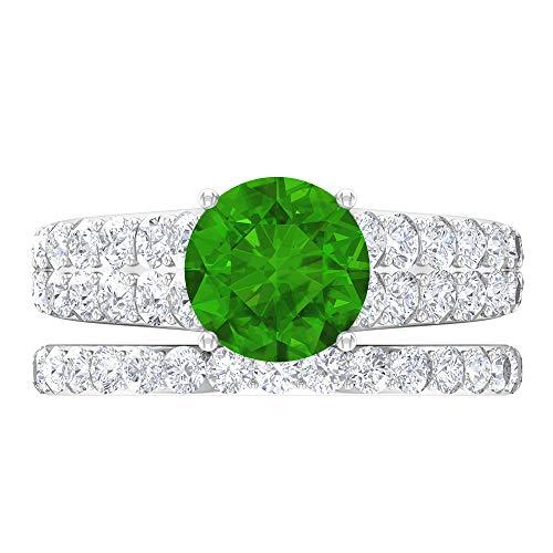 Anillo solitario para novia, 3.78 piedras preciosas redondas, D-VSSI Moissanite 8 mm esmeralda difusa, anillo cónico con piedras laterales, 14K White Gold, Emerald Diffused, Size:US 68