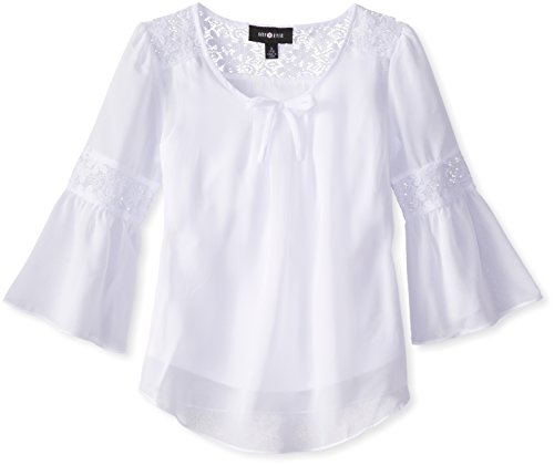 Amy Byer Girls' Bell Sleeve Top with Lace Inset, White, Large