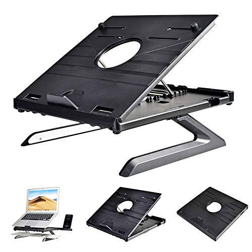 Laptop Stand Holder,8 Adjustable Height Angle Laptop Riser With Foldable Legs and Phone Holder,Portable Air-Ventilation Ergonomic Notebook Stand Tray Keybord Desk Storage for Laptop & Tablet(Black)