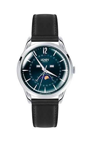 Henry London Unisex Mondphase Quarz Uhr mit Leder Armband HL39-LS-0071