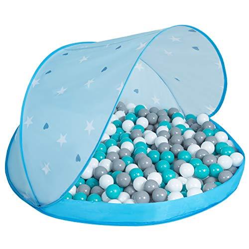 Selonis Pop Up Speeltent Kasteel Speelhuisje Met Plastic Ballen Voor Kinderen, Blauw:Wit-Grijs-Turkoois,115X115x75cm/100 Ballen