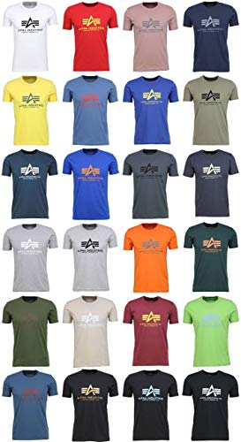 Alpha Industries Basic T-Shirt, Camiseta para Hombre, Verde (Dark Petrol 353), Small