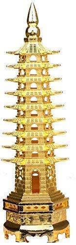 XiYou Estatuas de Resina Modelo Aleación Feng Shui Torre de educación Feng Shui Nueve Niveles Pagoda Wen Chang Estatua Mesa/Escritorio Decoración y artículos de Regalo Escultura de Color Dorado
