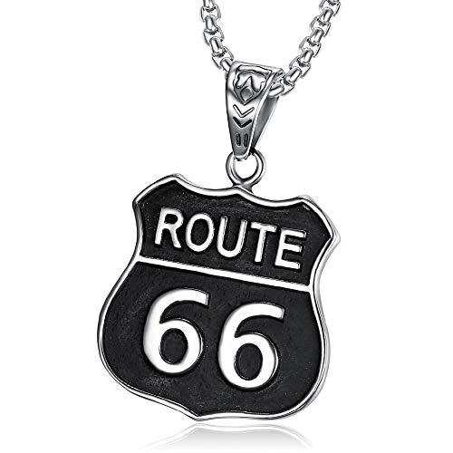 BOBIJOO JEWELRY - Colgante Escudo de Armas de el Hombre del Motorista Triker de la Ruta 66 de Estados Unidos de Viaje por Carretera 316L de Acero Negro de la Cadena de