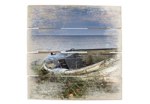 Houten schilderij - Visboot 40x41,5 cm - met ophanghaken - HB10041