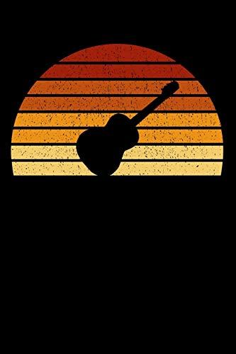 Gitarristen Notizbuch: A5 Liniert 108 Seiten - Vintage Sonne Akustikgitarre Notizheft - Geschenk für Gitarristen