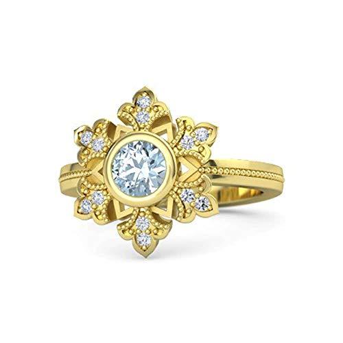 Anillo de Compromiso de Plata de 18 Quilates con Diamante de circonita cúbica de Color Blanco y Aguamarina de Corte Redondo para Mujer