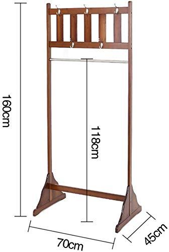 FVGH Klassieke kapstok hanger 5 haken bamboe voor slaapkamer woonkamer gang Bruin