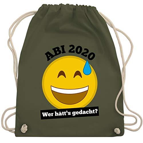 Shirtracer Abi & Abschluss - Emoticon - Abi 2020 - Wer hätt's gedacht? - Unisize - Olivgrün - abi handtuch 2019 - WM110 - Turnbeutel und Stoffbeutel aus Baumwolle