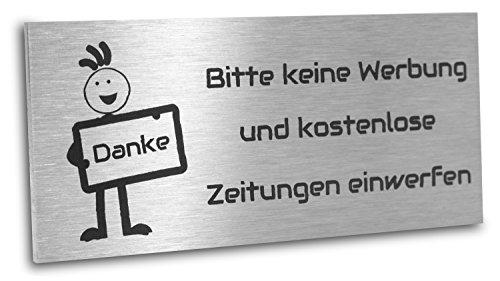 Jung Edelstahl Design Edelstahlschild Bitte keine Werbung und kostenlose Zeitungen einwerfen 80X35 mm