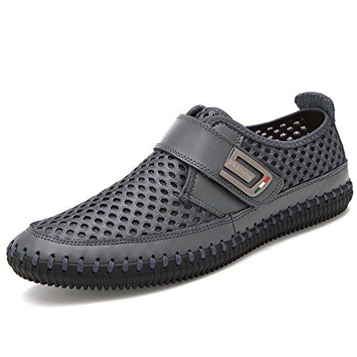 Homme Chaussure au Loisir sans Lacet Légère Chaussure de Ville en Cuir Ajouré Respirante Gris 38