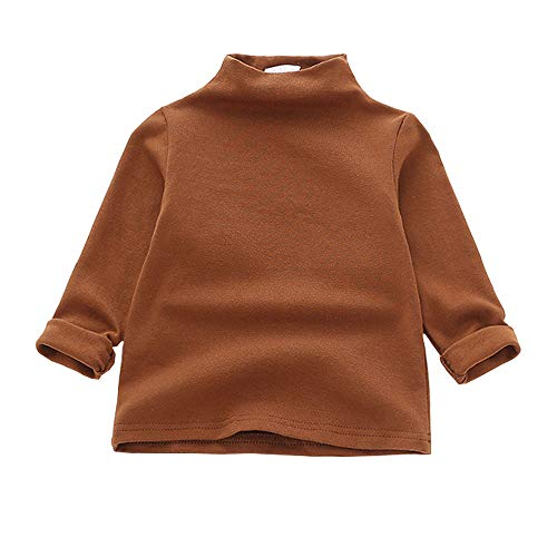 MODNTOGA Kids Baby Girls Basic Solid Color Turtleneck T-Shirt Tops Long Sleeve Clothes (Brown, 80(12-18Months))