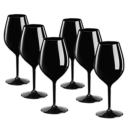 DoimoFlair Weingläser aus Kunststoff bruchsicher Weinbecher Sektgläser Plastik Schwarz 51 cl. Set 6 Stück